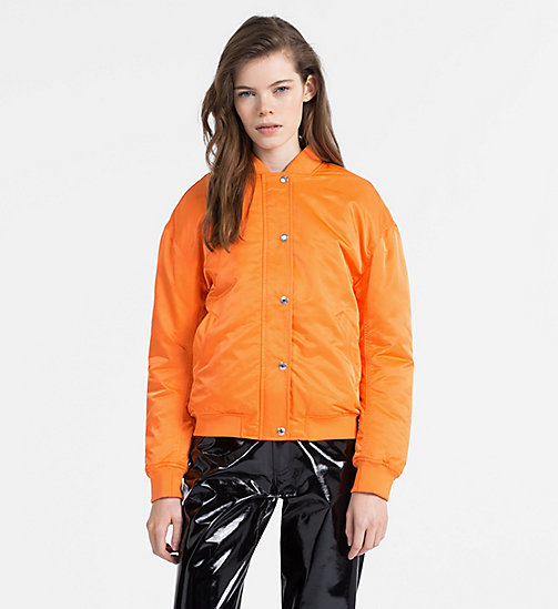 CALVIN KLEIN JEANS Padded Sateen Bomber Jacket - ORANGE TIGER 16-1358 TCX - CALVIN KLEIN JEANS NEW IN - main image