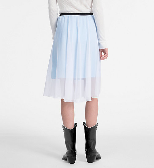 CALVIN KLEIN JEANS Double Layer Midi Skirt - BRIGHT WHITE / SKY BLUE - CALVIN KLEIN JEANS SKIRTS - detail image 1