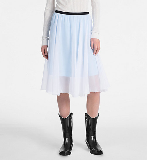 CALVIN KLEIN JEANS Double Layer Midi Skirt - BRIGHT WHITE / SKY BLUE - CALVIN KLEIN JEANS SKIRTS - main image