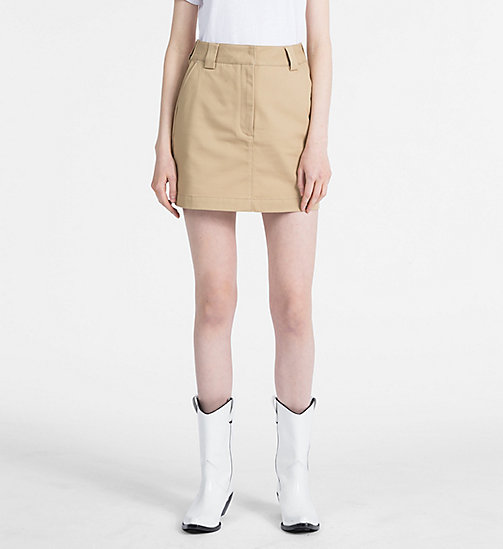CALVIN KLEIN JEANS A-line Mini Skirt - TRAVERTINE - CALVIN KLEIN JEANS NEW IN - main image