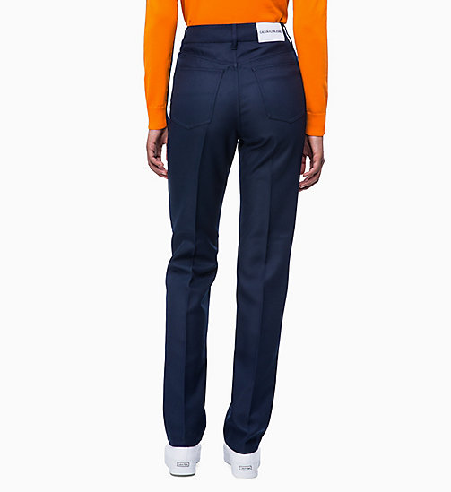 CALVIN KLEIN JEANS Twill Straight Trousers - PEACOAT - CALVIN KLEIN JEANS TROUSERS - detail image 1