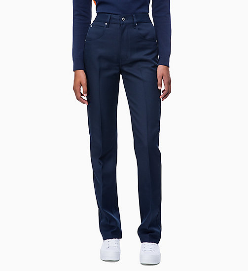 CALVIN KLEIN JEANS Twill Straight Trousers - PEACOAT - CALVIN KLEIN JEANS TROUSERS - main image