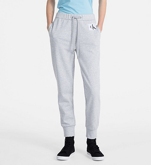 CALVIN KLEIN JEANS Logo Jogging Pants - LIGHT GREY HEATHER - CALVIN KLEIN JEANS TROUSERS - main image