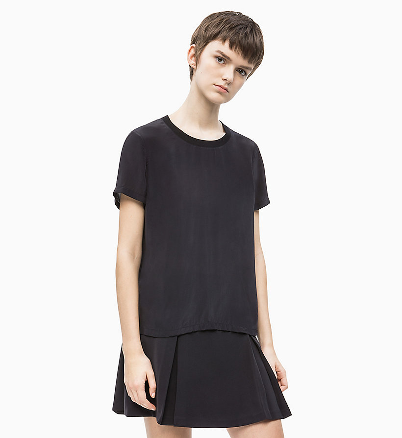 CALVIN KLEIN JEANS Crepe Short Sleeve Top - TAWNY PORT - CALVIN KLEIN JEANS WOMEN - main image