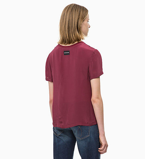 CALVIN KLEIN JEANS Crepe Short Sleeve Top - TAWNY PORT - CALVIN KLEIN JEANS TOPS - detail image 1