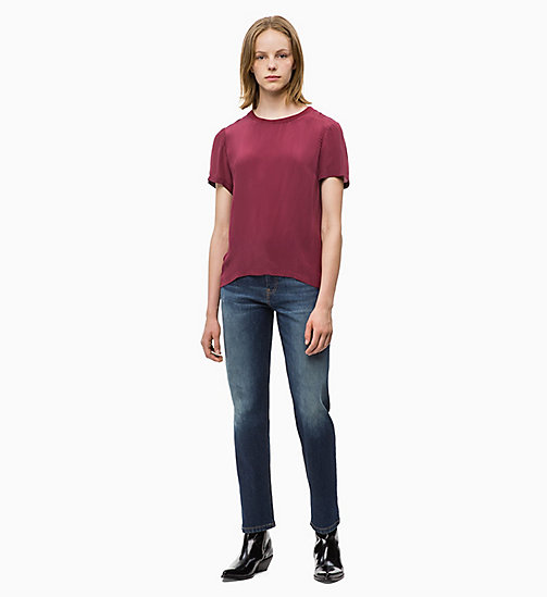 CALVIN KLEIN JEANS Crepe Short Sleeve Top - TAWNY PORT - CALVIN KLEIN JEANS CLOTHES - detail image 1