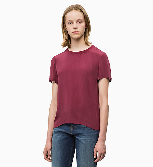 CALVIN KLEIN JEANS Crepe Short Sleeve Top - TAWNY PORT - CALVIN KLEIN JEANS TOPS - main image