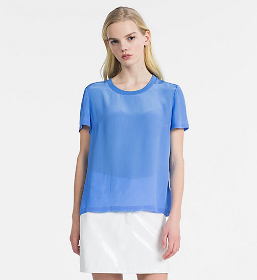 CALVIN KLEIN JEANS Crepe Short-Sleeve Top - REGATTA - CALVIN KLEIN JEANS NEW IN - main image