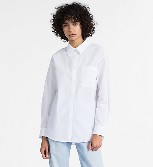 CALVIN KLEIN JEANS Oversized Cotton Poplin Shirt - BRIGHT WHITE - CALVIN KLEIN JEANS NEW IN - main image
