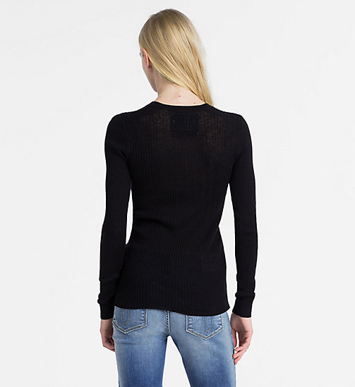 CALVIN KLEIN JEANS Cotton Silk Rib-Knit Jumper - CK BLACK - CALVIN KLEIN JEANS NEW IN - detail image 1