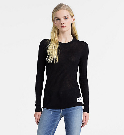 CALVIN KLEIN JEANS Cotton Silk Rib-Knit Jumper - CK BLACK - CALVIN KLEIN JEANS NEW IN - main image