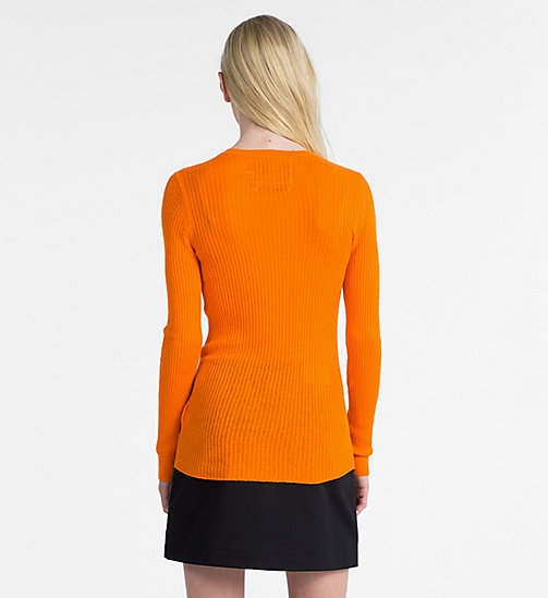 CALVIN KLEIN JEANS Cotton Silk Rib-Knit Jumper - ORANGE TIGER 16-1358 TCX - CALVIN KLEIN JEANS CLOTHES - detail image 1