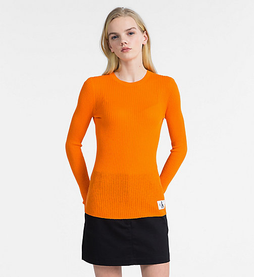CALVIN KLEIN JEANS Cotton Silk Rib-Knit Jumper - ORANGE TIGER 16-1358 TCX - CALVIN KLEIN JEANS NEW IN - main image