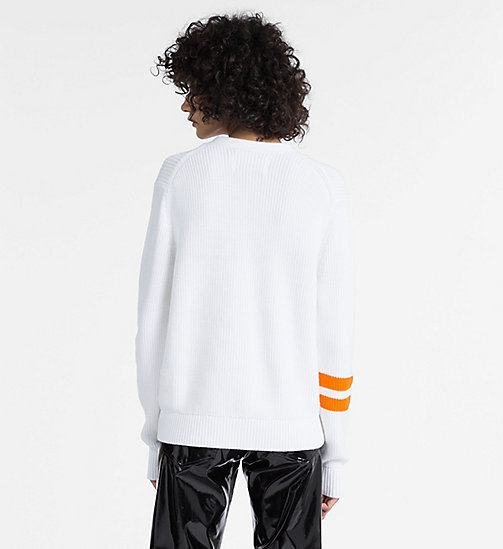 CALVIN KLEIN JEANS Rib-Knit Varsity Cardigan - BRIGHT WHITE - CALVIN KLEIN JEANS NEW IN - detail image 1