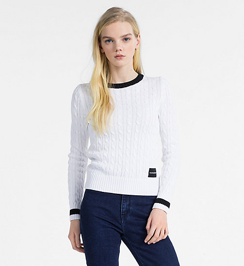 CALVIN KLEIN JEANS Cotton Cable Knit Jumper - BRIGHT WHITE - CALVIN KLEIN JEANS KNITWEAR - main image