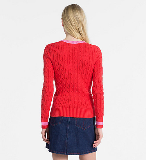 CALVIN KLEIN JEANS Cotton Cable Knit Jumper - TOMATO - CALVIN KLEIN JEANS NEW IN - detail image 1