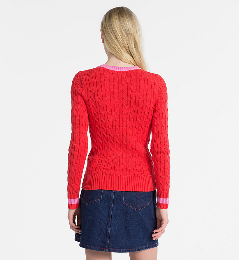 CALVIN KLEIN JEANS Cotton Cable Knit Jumper - BRIGHT WHITE - CALVIN KLEIN JEANS WOMEN - detail image 1
