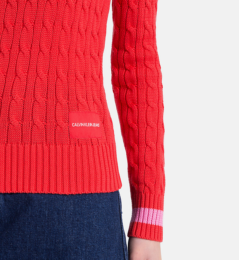 CALVIN KLEIN JEANS Cotton Cable Knit Jumper - BRIGHT WHITE - CALVIN KLEIN JEANS WOMEN - detail image 2