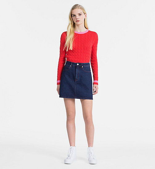 CALVIN KLEIN JEANS Cotton Cable Knit Jumper - TOMATO - CALVIN KLEIN JEANS CLOTHES - detail image 1