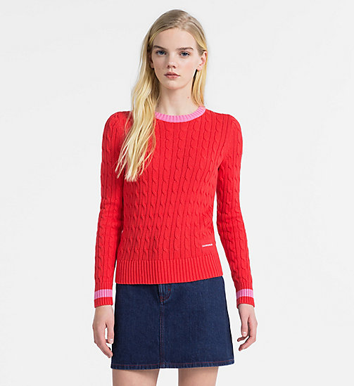 CALVIN KLEIN JEANS Cotton Cable Knit Jumper - TOMATO - CALVIN KLEIN JEANS NEW IN - main image
