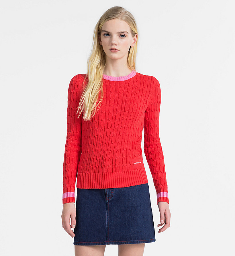 CALVIN KLEIN JEANS Cotton Cable Knit Jumper - BRIGHT WHITE - CALVIN KLEIN JEANS WOMEN - main image