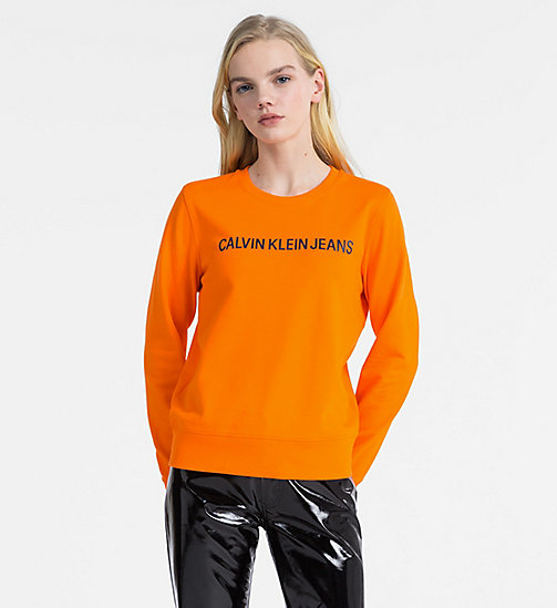 CALVIN KLEIN JEANS Logo Sweatshirt - ORANGE TIGER 16-1358 TCX - CALVIN KLEIN JEANS NEW IN - main image