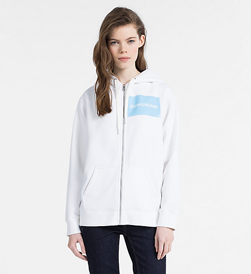 CALVIN KLEIN JEANS Zip-Through Logo Hoodie - BRIGHT WHITE - CALVIN KLEIN JEANS CLOTHES - main image
