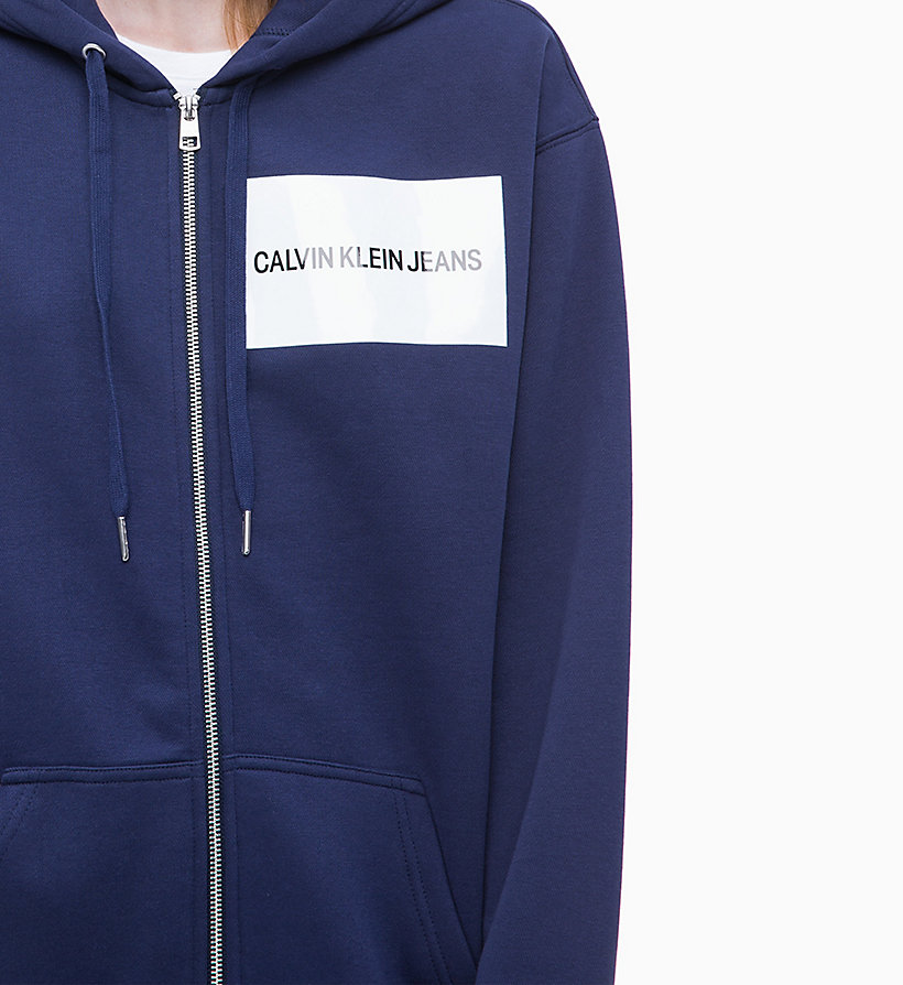 CALVIN KLEIN JEANS Zip-Through Logo Hoodie - BRIGHT WHITE - CALVIN KLEIN JEANS UNDERWEAR - detail image 3