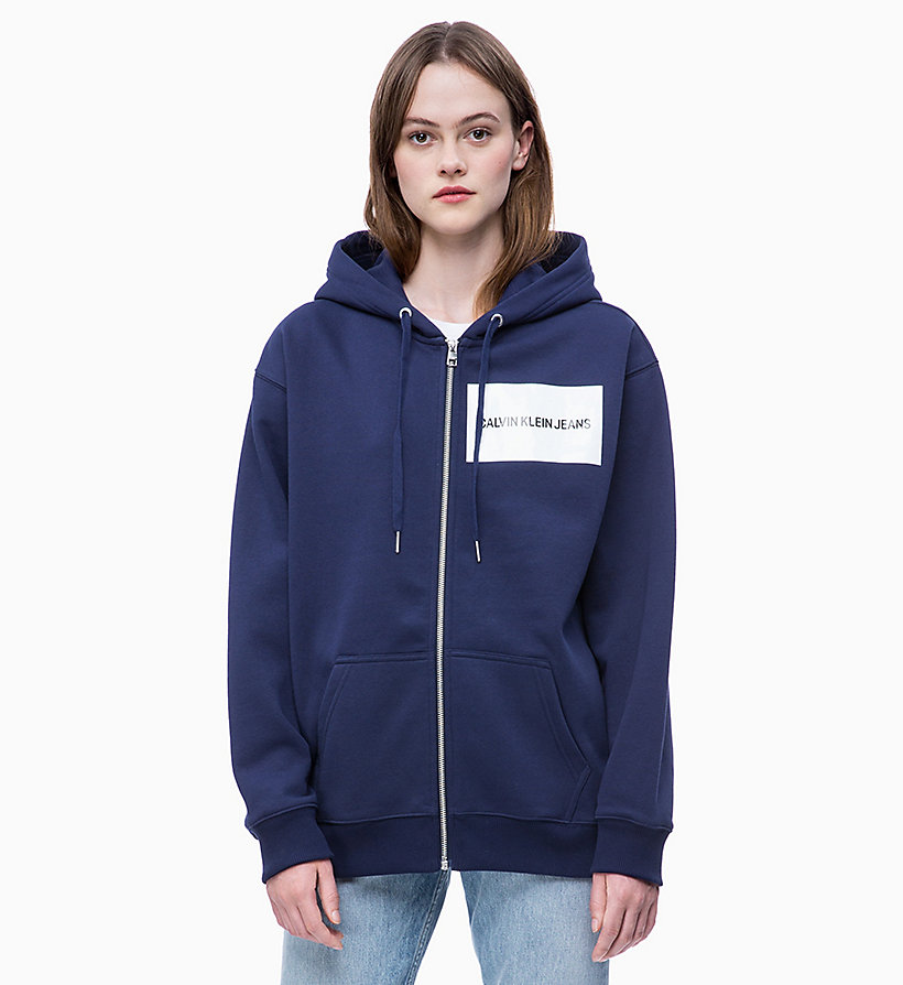 CALVIN KLEIN JEANS Zip-Through Logo Hoodie - BRIGHT WHITE - CALVIN KLEIN JEANS UNDERWEAR - main image