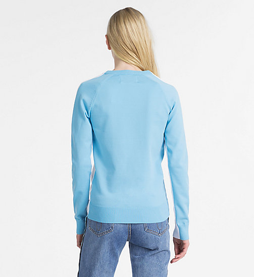 CALVIN KLEIN JEANS Cotton Colour Block Jumper - BRIGHT WHITE - CALVIN KLEIN JEANS KNITWEAR - detail image 1
