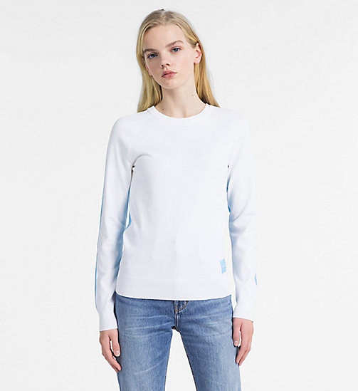CALVIN KLEIN JEANS Cotton Colour Block Jumper - BRIGHT WHITE - CALVIN KLEIN JEANS KNITWEAR - main image