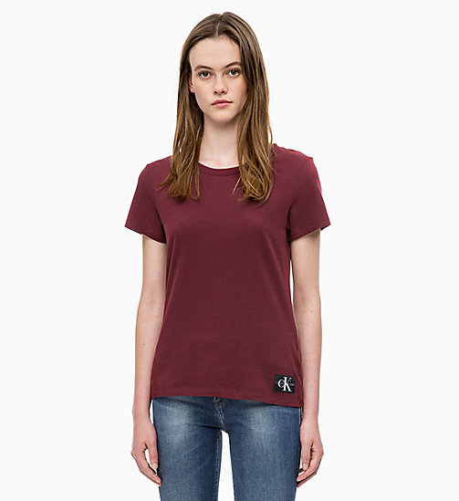 CALVIN KLEIN JEANS Slim Slub Cotton T-shirt - TAWNY PORT - CALVIN KLEIN JEANS NEW IN - main image