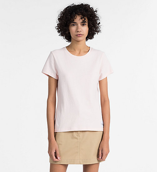 CALVIN KLEIN JEANS Slim Slub Cotton T-shirt - CHINTZ ROSE - CALVIN KLEIN JEANS CLOTHES - main image