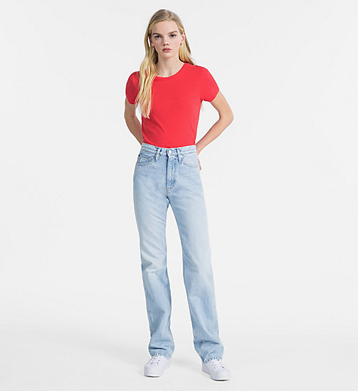 CALVIN KLEIN JEANS T-shirt slim in cotone fiammato - TOMATO - CALVIN KLEIN JEANS T-SHIRT - dettaglio immagine 1