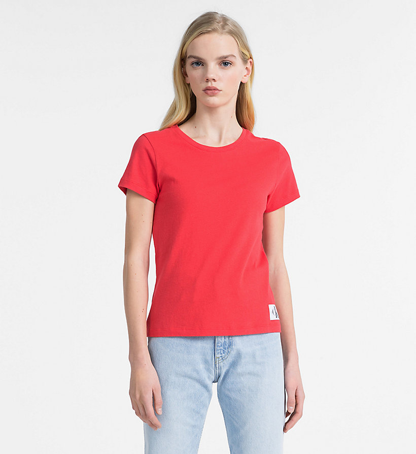 CALVIN KLEIN JEANS Slim Slub Cotton T-shirt - BRIGHT WHITE - CALVIN KLEIN JEANS WOMEN - main image