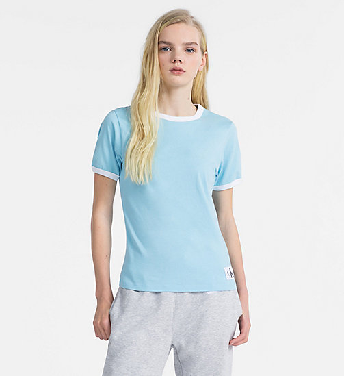 CALVIN KLEIN JEANS Slim Contrast Neck T-shirt - SKY BLUE / BRIGHT WHITE - CALVIN KLEIN JEANS NEW IN - main image