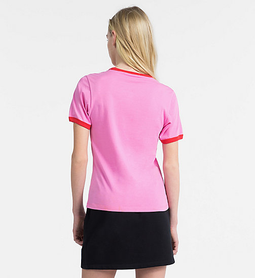 CALVIN KLEIN JEANS Slim Contrast Neck T-shirt - WILD ORCHID / TOMATO - CALVIN KLEIN JEANS NEW IN - detail image 1