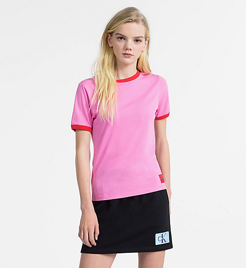CALVIN KLEIN JEANS Slim Contrast Neck T-shirt - WILD ORCHID / TOMATO - CALVIN KLEIN JEANS NEW IN - main image