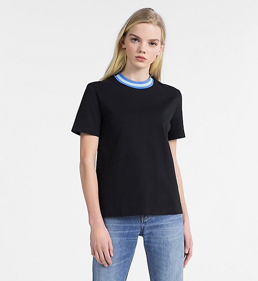 CALVIN KLEIN JEANS Contrast Neck T-shirt - CK BLACK - CALVIN KLEIN JEANS NEW IN - main image