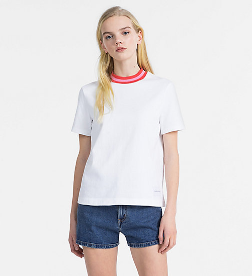 CALVIN KLEIN JEANS Contrast Neck T-shirt - BRIGHT WHITE - CALVIN KLEIN JEANS NEW IN - main image