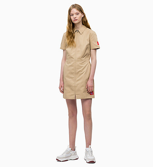 CALVIN KLEIN JEANS Canvas Zip-Up Dress - TRAVERTINE - CALVIN KLEIN JEANS DRESSES - main image