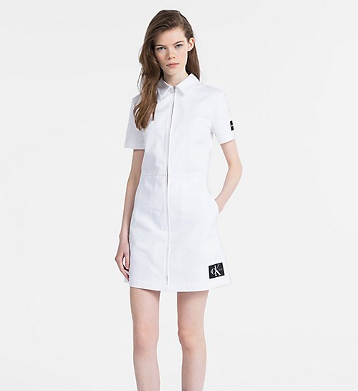 CALVIN KLEIN JEANS Canvas Zip-Up Dress - BRIGHT WHITE - CALVIN KLEIN JEANS DRESSES - main image