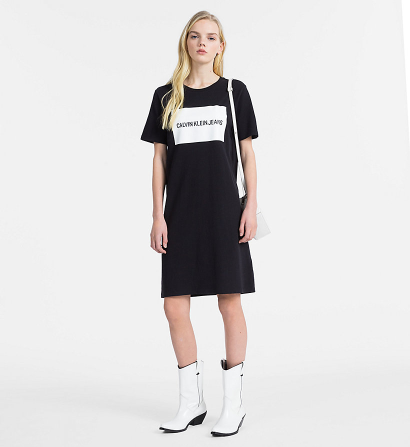 CALVIN KLEIN JEANS Logo T-shirt Dress - BRIGHT WHITE - CALVIN KLEIN JEANS WOMEN - detail image 3