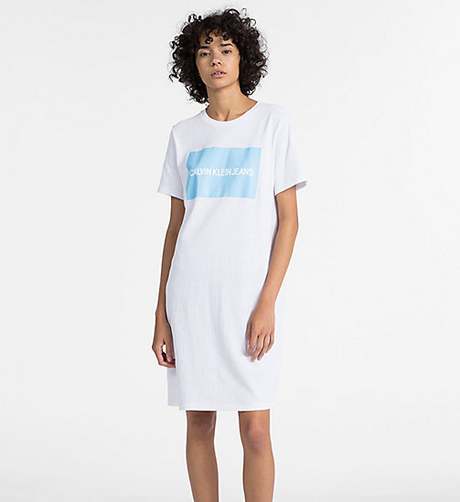 CALVIN KLEIN JEANS Logo T-shirt Dress - BRIGHT WHITE - CALVIN KLEIN JEANS NEW IN - main image