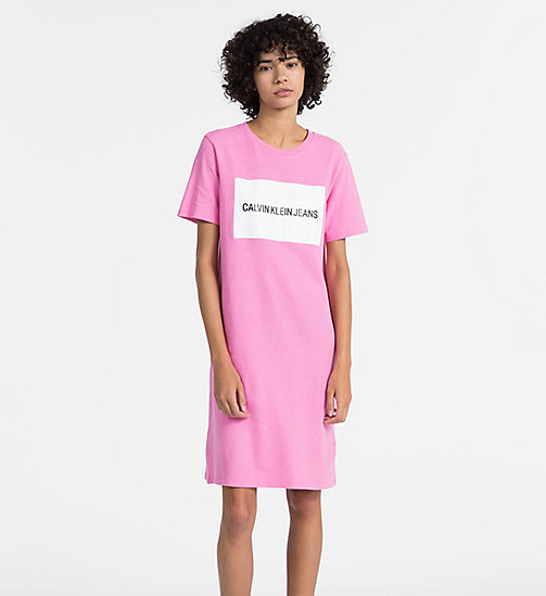 CALVIN KLEIN JEANS Logo T-shirt Dress - WILD ORCHID - CALVIN KLEIN JEANS NEW IN - main image