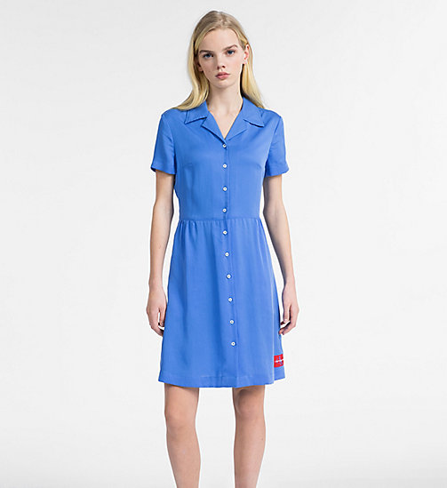 CALVIN KLEIN JEANS Short-Sleeve Tea Dress - REGATTA - CALVIN KLEIN JEANS DRESSES - main image