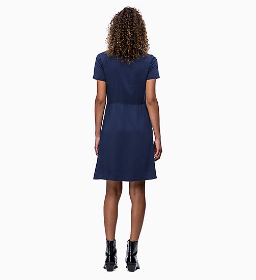 CALVIN KLEIN JEANS Short-Sleeve Tea Dress - PEACOAT - CALVIN KLEIN JEANS CLOTHES - detail image 1