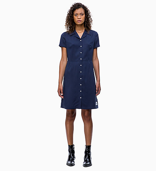 CALVIN KLEIN JEANS Short-Sleeve Tea Dress - PEACOAT - CALVIN KLEIN JEANS DRESSES - main image