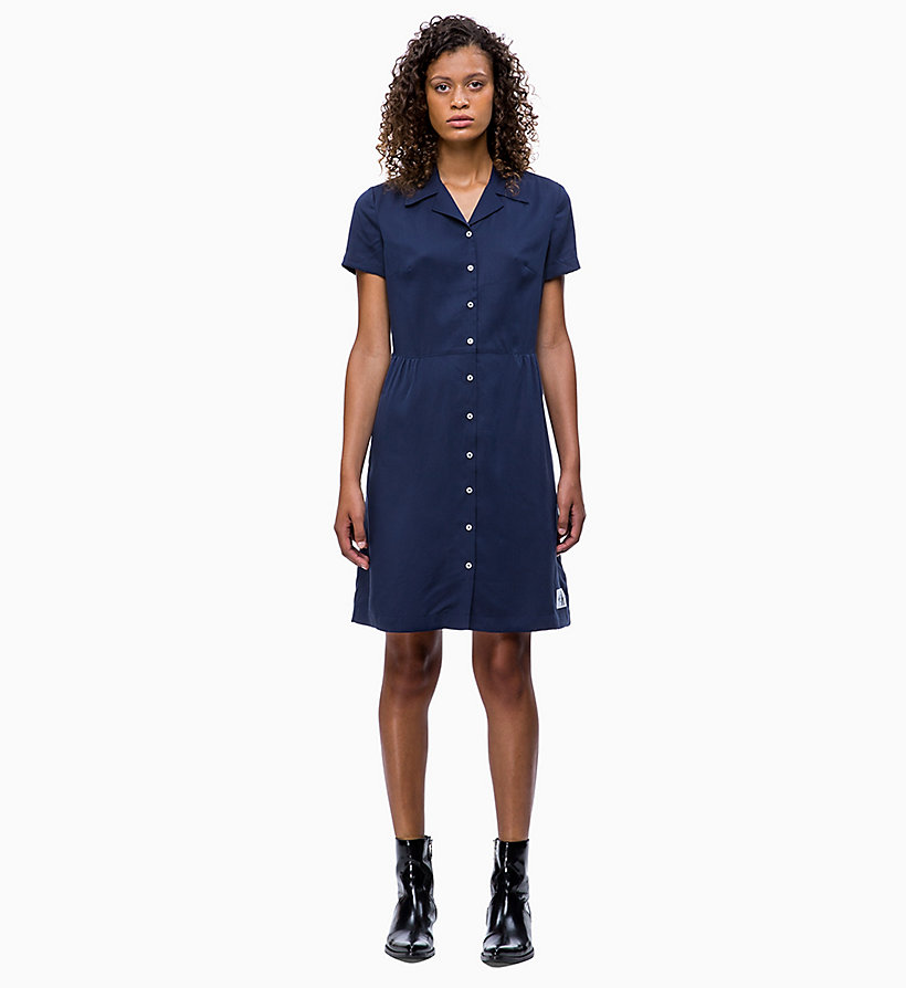 CALVIN KLEIN JEANS Short-Sleeve Tea Dress - REGATTA - CALVIN KLEIN JEANS WOMEN - main image