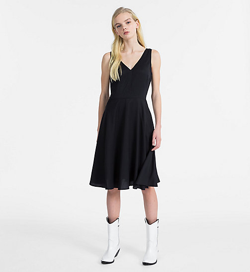 CALVIN KLEIN JEANS Sleeveless Fit and Flare Dress - CK BLACK - CALVIN KLEIN JEANS DRESSES - main image